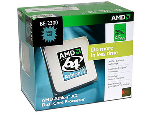 Procesador AMD Athlon X2 BE-2300, Dual Core a 1.9GHz, Cache L2 2x512KB, Socket AM2, Bajo Consumo 45Watts.