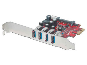Tarjeta PCI Express de 4 puertos USB 3.0 SuperSpeed, con alimentación SATA y SP4.