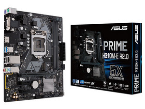 T. Madre ASUS PRIME H310M-E 2.0, Chipset Intel H310, Soporta: Intel Core 9th / 8th Gen., Socket 1151, Memoria: DDR4 2133MHz, 32GB Max, Integrado: Audio HD, Red, USB 3.0, SATA 3.0 y M.2, Micro-ATX.