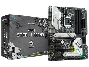 T. Madre ASRock Z390 Steel Legend, Soporta: Intel Core de 9a y 8a generación, Socket 1151, Memoria: DDR4 4666+(OC) / 2667 / 2133MHz, 128 GB Max., Integrado: Audio HD, Red Gigabit, ATX, Ptos: 2xPCIE3.0 x16, 3xPCIE3.0x1.