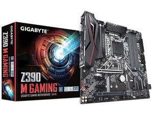 T. Madre Gigabyte Z390 M GAMING, ChipSet Intel Z390, Soporta: Core i9 / i7 / i5 / i3 de 9na y 8va gen, Socket 1151, Memoria: DDR4 2666/2400/2133 MHz, 64GB Max, Integrado: Audio HD, Red, USB 3.0 y SATA 3.0, Micro-ATX, Ptos: 2xPCIEX16, 2xPCIEX1.