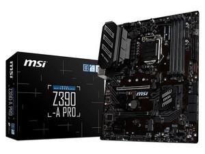 T. Madre MSI Z390-A Pro, Chipset Intel Z390, Soporta: Intel Core i9 / i7 / i5 / i3 de 9na y 8va gen, Socket 1151, Memoria: DDR4 4400(OC),3000(OC),2133MHz, 64GB Max, Integrado: Audio HD, Red, USB 3.1, SATA 3.0 y M.2, ATX, Ptos: 2xPCIE 3.0 x16.