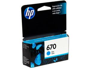 Cartucho de tinta HP 670 Cian Original (CZ114AL).