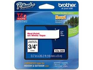 Cinta de impresión Brother rojo sobre blanco de 18mm x 8m, Modelo: TZE242.