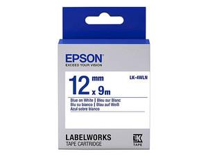 Cinta de impresión Epson Azul sobre blanco. Modelo: LK-4WLN