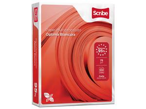 Papel Bond Scribe Rojo tamaño carta, blancura 95%, caja con 10 paquetes de 500 hojas.