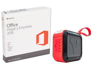 Microsoft Office Hogar y Empresas 2016, 1 PC. (32/64 Bits). Incluye Bocina portátil recargable Vorago BSP-300, Bluetooth, 3.5mm. Color Rojo.
