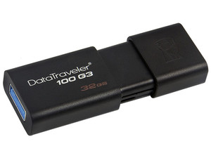 Unidad Flash USB 3.0 Kingston DataTraveler 100 G3 de 32 GB.