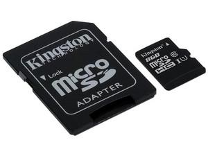 Memoria Kingston Micro SDHC UHS-I U1 de 8 GB, clase 10 incluye adaptador SD.