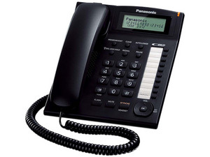 Teléfono Alámbrico Panasonic KX-T7716X con Identificador de Llamadas, una Linea, 50 Memorias, Color Negro