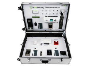 Kit de demostración ZKTeco Demo Kit, incluye Maletín de metal, Panel de acceso, Panel de elevadores, Cámara IP, Lectores de huella, Alarma, Lector RFID, y diversos productos de seguridad y control de acceso ZKTeco.
