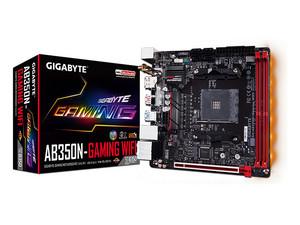 T. Madre Gigabyte GA-AB350N-Gaming WIFI, ChipSet B350, Soporta: AMD de Socket AM4, Memoria: DDR4 3200(O.C.)/ 2933(O.C.)/2133 MHz, 32GB Max, Integrado: Audio HD, Red, USB 3.0 y SATA 3.0, Mini-ITX, Ptos: 1xPCIEx16.
