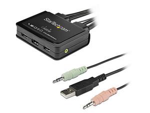 Conmutador Switch StarTech KMV de 2 puertos HDMI con cables integrados, USB 4K.