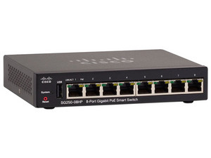 Switch Cisco SG250-08HP-K9-NA de 8 Puertos POE+ 10/100/1000 Mbps.