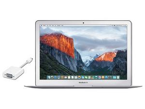 """Apple MacBook Air: Procesador Intel Core i5 (hasta 2.7 GHz), Memoria de 8 GB LPDDR3, SSD de 128 GB, Pantalla LED de 13.3\"""", Video Intel HD Graphics 6000, Red 802.11ac, Mac OS X El Capitan. Adaptador Apple de Mini DisplayPort a VGA."""
