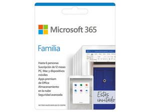 Microsoft Office 365 Family (1 año de suscripción para 6 usuarios + 1TB en one Drive). Descarga ESD.