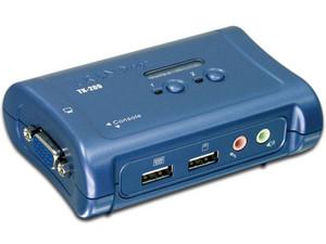 Conmutador KVM TRENDnet USB de 2 puertos con audio.
