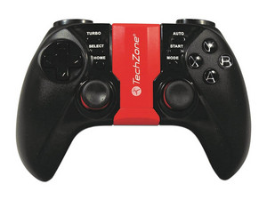 GamePad universal TechZone para smartphone, Bluetooth. Color negro/rojo.