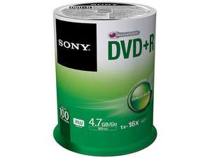 Paquete de 100 DVD+R Sony de 4.7 GB, 120min, 16x.