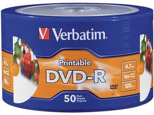 Paquete de 50 DVD-R Verbatim de 4.7 GB, 120min, 16x.