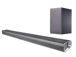 Barra de sonido LG SJ5 con 320W de potencia, 2.1 canales, subwoofer inalámbrico, bluetooth, Color plata.