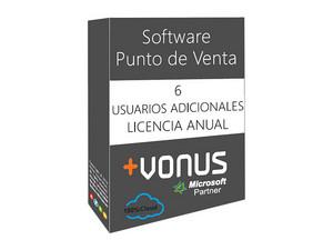 Seis usuarios adicional Vonus Software Punto de Venta en la nube (1 año).