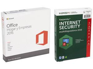 Microsoft Office Hogar y Empresas 2016, 1 PC. (32/64 Bits) + Kaspersky Internet Security Multidispositivos 2016, 1 Dispositivo, 1 Año.
