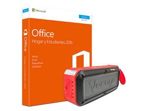 Microsoft Office Hogar y Estudiantes 2016, 1 PC. (32/64 Bits) Bocina portátil recargable Vorago BSP-500 V2