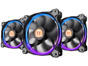Kit de 3 Ventiladores Thermaltake Riing 12, 120 mm con LED RGB de 256 Colores, 1500 RPM, 24.6 dB-A.