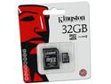 Memoria Kingston microSDHC de 32GB Clase 4, incluye adaptador SD