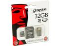 Memoria Kingston MicroSDHC de 32GB Clase 4, incluye adaptador SD y lector de tarjetas MicroSD USB 2.0.