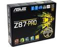 T. Madre Asus Z87-PRO, ChipSet Intel Z87 Exp., Soporta: Core i7/i5/i3 de Socket 1150, Memoria: DDR3 3000(O.C.)/1866/1600/1333 MHz, 32GB Max, Integrado: Audio HD, Red, USB 3.0 y SATA 3.0, ATX, Ptos: 3xPCIEX16, 4xPCIEX1