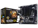 T. Madre Gigabyte GA-N3160N-D2H,  Procesador integrado: Intel Celeron N3160 (1.6GHz), Memoria: DDR3 1600/1333/1066 MHz, 8GB Max, Integrado: Audio HD, Red, USB 3.0, SATA 3.0, Mini-ITX, Ptos: 1xPCIE x16.